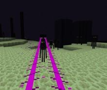 A baby enderman from the Baby Mobs mod