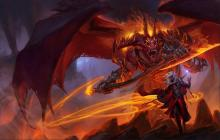 A large demon lord with a whip of fire and blade of flame stands at his full height.