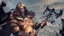 A beefy barbarian wielding a standard battleaxe in combat.