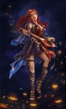 A beautiful bard creates dancing lights as she sings