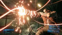 Barret gears up for a powerful attack in Final Fantasy 7: remake