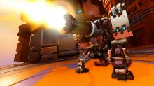 Highlight intro of Bastion tearing apart enemies with his gatling gun