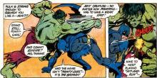 Batman struggles to survive in a battle against the Hulk.
