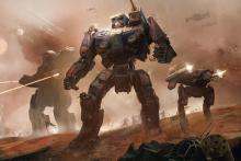 Command mechs in a turn-based tactical combat game