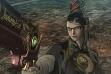 Bayonetta politely pointing her gun