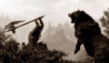 The Dragonborn takes a break from Dragons to fight a bear.