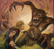 Beowulf fights a monster.