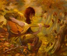 She plays a song to which the leaves fall.