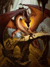 A dragon protects its treasure from an ambitious group of adventurers.