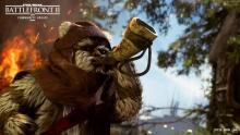 The Ewok Hunter sounds the horn to alert his tribe.