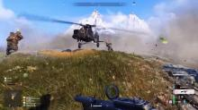 Players fight over control of the game's only helicopter.