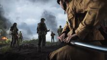 A Japanese soldier sneaks up on an American squad while wielding a Katana - a new weapon pickup found only on Pacific maps.