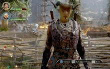 This Qunari has seen battle and it shows, splatter covers her face and armor