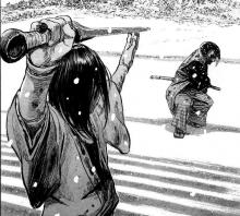 Blade of the Immortal has many well drawn fights, and this is no different, with each warrior taking their stances and drawing their swords
