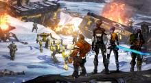 The heroes of Borderlands 2 (Sal, Zer0, Maya, and Axton) stand before the robotic horde of Handsome Jack
