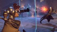 Brigitte fighting Reaper during the Halloween event.