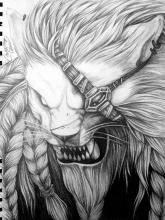 An extremely talented League player shows off their talents in this black and white drawing of the Pridestalker