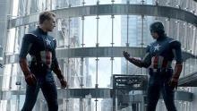 Captain America runs into himself