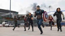 Captain America in battle