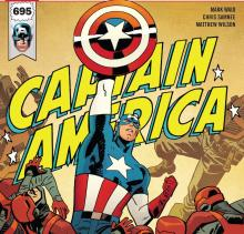 Captain America on cover of comic book