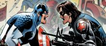 Captain America battles in comic book