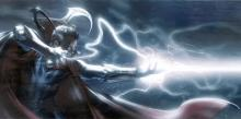 A bolt of lightning erupts from a mage's hands