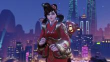 Mei stands in front of the Lijang Tower map in one of her Chinese New Year skins.