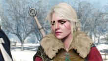 Ciri as she tells Geralt she's decided to join her father.