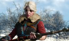 Ciri handing Geralt her sword.