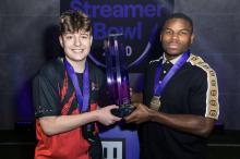 Clix and his partner Tarik Cohen (RB for the Chicago Bears) bring home the first place trophy in the Fortnite NFL Streamer Bowl.