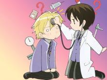 Haruhi seeing if tamaki has a brain