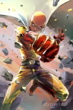 One Punch Man throwing  his punch