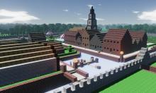Voxel zombies will happily tear down that town hall
