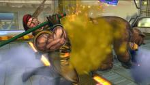 Rolento suffers the full force of one of his opponent's special attacks.