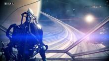 Nekros looking out from his Liset at the rings of Saturn and the encroaching Grineer armada.