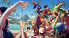 ....Or is it as hot as the weather in this Pool Party official art?