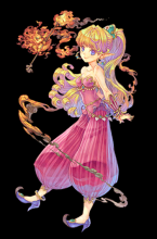 Primm is a playable character from Secret of Mana. Fun fact: Primm's character design in the game strongly resembles Marle because they were at one point the same character. Primm's sprite was reused and recolored when Chrono Trigger was made.