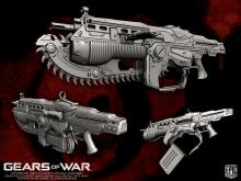 From the Gears of War series, it's a fully automatic assault rifle with a chainsaw bayonet. What's not to love?