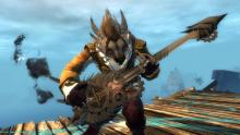 A fancy charr playing its bass guitar.