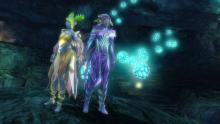 Two sylvari stand at the base of a hidden jumping puzzle.