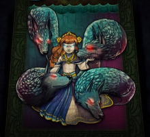 Scylla, the Greek Horror of the Sea, glares out from the screen at the end of the lore section of her reveal video.