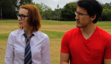 Felicia and Markiplier patiently listen to the rules of Quidditch. Of course, Felicia is a Ravenclaw.