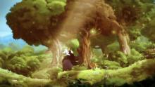 Piggyback ride through the forest.