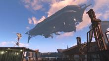 The Brotherhood of Steel operates aloft a giant airship.