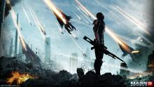 The reapers invading Earth in Mass Effect 3.