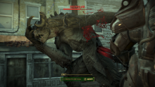 A fight with a monstrous deathclaw, one of Fallout 4's most fearsome foe.