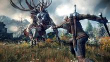 Geralt fights a 3 eyed zombie reindeer with his silver sword