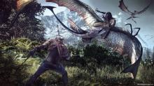 Geralt fights the flying drowner zombies with his silver sword
