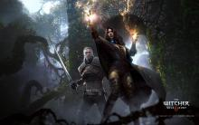 Yennefer using her magic on enemies while gerlat backs her up