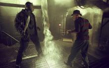 Jason Voorhees facing off against Freddy Krueger in Freddy VS Jason (2003).